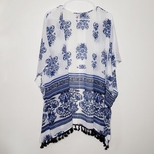 Xhilaration Kimono Tassels Blue White Medium Large